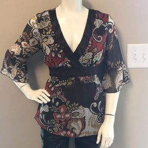 Woman's studio 1940 brown floral blouse size M
